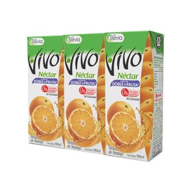 3 Pack Vivo Néctar de Naranja con Stevia