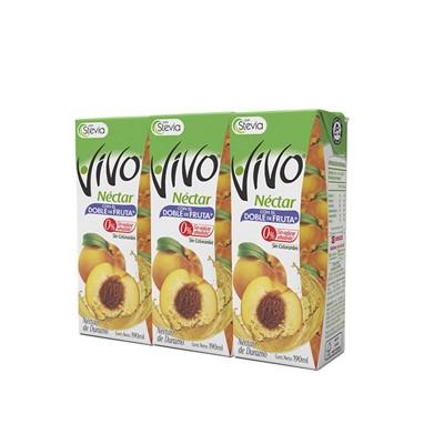 3 Pack Vivo Néctar de Durazno con Stevia