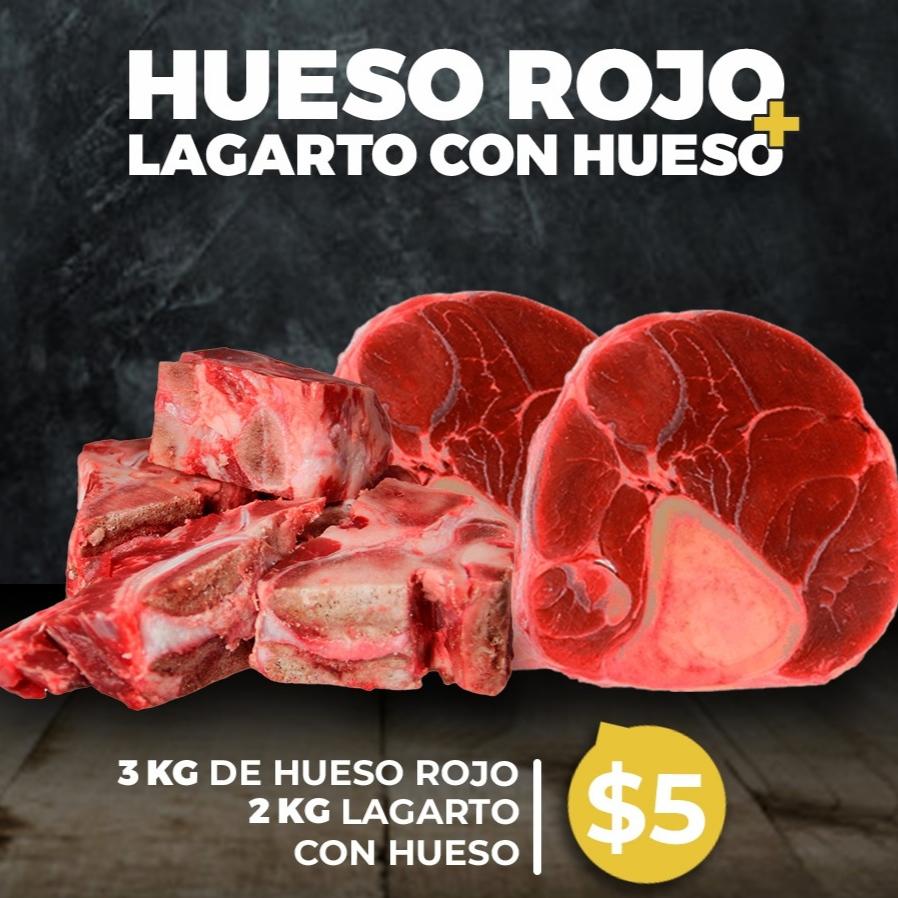 Hueso Rojo 3Kg + Lagarto con hueso 2Kg